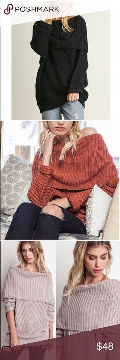 SYDNEY knit off shoulder sweater top - BLACK Chunky knit off shoulder sweater top.   ALSO AVAILABLE IN RUST, MUAVE & BLACK   !!!NO TRADE, PRICE FIRM!!! Bellanblue Tops