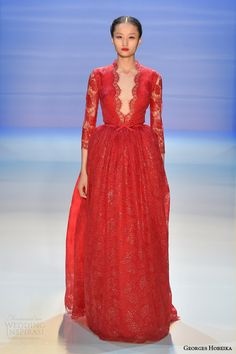 georges hobeika fall 2014 2015 couture red gown lace sleeves