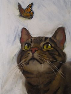 Cat and Butterfly II original oil painting by Hoeptner, painting by artist Diane Hoeptner