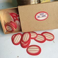 Tiny Vintage Red Bordered Gummed Labels