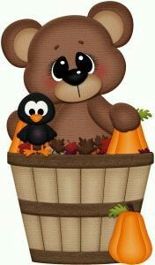 Silhouette Design Store: fall bear in basket w crow pnc Fall Crafts, Crafts For Kids, Diy Crafts, October Clipart, Fall Clip Art, Halloween Painting, Halloween Clipart, Cute Clipart, Fimo