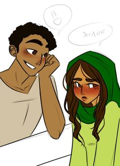 Sam and Amir <3<<<<<Im so proud of Rick for writing in a Muslim character and having her be happy in an arranged marriage (although slightly embarrassed by this dork who I really want to see more of) and still have her be an amazing and strong character