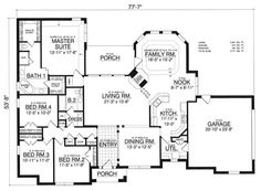Country European House Plan 77196 Level One