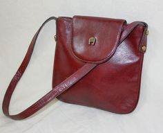 71d0506d1603 ViNtAgE 70 s Studded Leather ETIENNE AIGNER Oxblood Red Small Crossbody Bag