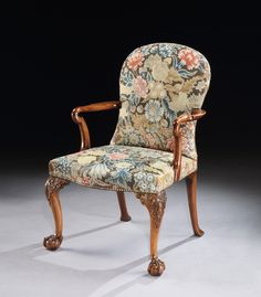 A George II Walnut Shepherds Crook Armchair