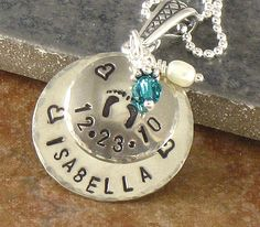 Mother's Necklace - Personalized New Mom Baby Feet Pendant - Newborn Baby's Name and Birth Date - Sterling Silver- Mother's Day Jewelry