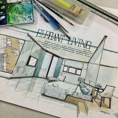 Modern classic style sketch design - All For Garden Interior Design Renderings, Interior Rendering, Interior Sketch, Croquis Architecture, Architecture Design, Classical Architecture, Sketch Design, Presentation Design, Portfolio Design