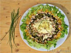 Salată cu paste, piept de pui și porumb – Vicky's Recipes Mozzarella, Cobb Salad, Avocado, Erika, Salads, Lawyer