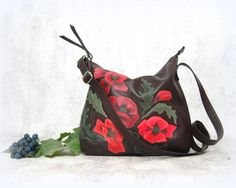 Leather bag painted poppies brown bag leather hobo by CityRomance