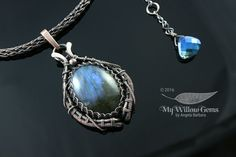 Wire Wrapped Labradorite Necklace - Copper and Natural Gemstone Pendant with Blue Flash - Underwater Cave - Aurora Borealis Collection