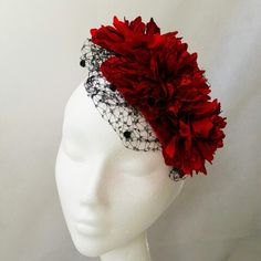 Red silk flower fascinator with veiling. Can be put on a headband or comb Red Silk, Put On, Silk Flowers, Fascinator, Veil, Anna, Hairstyle, Crown, Hats