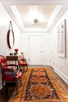 Colorful Chic by Lilly Bunn Interiors. {Notice the Wallpapered Ceiling in the Foyer}
