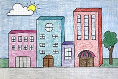 Draw Buildings My favorite drawing step by step tutorial is also an excellent example of turning a Shape into a Form (both found on the Elements of Art List. To cap it off, if you color with changing the Value (dark for the building sides) you have u Drawing Lessons For Kids, Art Drawings For Kids, 3d Drawings, Art For Kids, 3d Art Projects, Projects For Kids, 4th Grade Art, Shape Art, Building Art