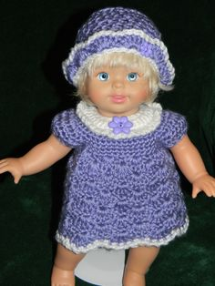 "Blue shell dress with matching hat for 14"" doll."