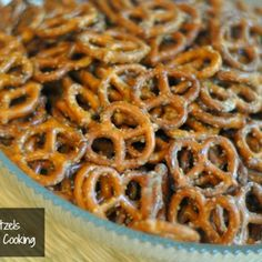 Seasoned Pretzels-Pam's recipe: 20 oz pretzels, Dry cheese and garlic dressing mix, 3/4 c. oil, 1T dill weed, 1t garlic powder.  Mix ingredients with whisk and stir in pretzels.  Put in plastic bag and let set overnight shaking several times. ~Elaine