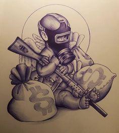 Gangster Tattoos, Chicano Art Tattoos, Badass Tattoos, Body Art Tattoos, Chicano Tattoos Gangsters, Tattoo Design Drawings, Tattoo Sleeve Designs, Tattoo Sketches, Tattoo Designs Men