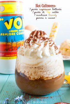 Vov: hot Calimero (coffee, Vov, brandy, cream and cocoa)