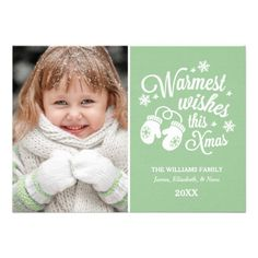 """Classic Christmas photo card greeting features """"Warmest wishes this Xmas"""" white script text design with a pair of cozy winter mittens and accent pattern of stars and snowflakes.  Personalize with your photo and custom text.  Green background color can be customized."""