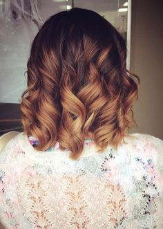 Caramel brown balayage ombre short hair curls hairbymariahann