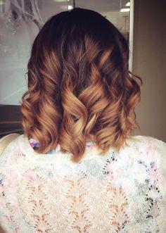 Caramel brown balayage ombre short hair curls hairbymariahann
