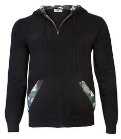Black Men's hooded cardigan with African print detail £115