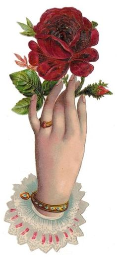 Victorian Hand and Rose Scrap