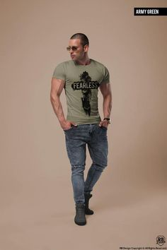 Men's Muscle Fit T-shirt Scoop neck Tshirt Fearless Tee Trending Fashion Shirts Online Cool Mens Tops Brand New T-shirt khaki Gray Tee T Shirts Uk, Casual T Shirts, Shirts Online, Outfits Hombre, Casual Wear For Men, Quality T Shirts, Shirt Style, Colorful Shirts, Shirt Designs