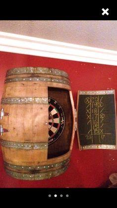 Wine barrel dart board