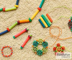 Try our modern take on classic pasta jewelry for a craft your kids will love.