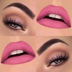 Nude eye makeup and matte pink lips Makeup Trends, Makeup Inspo, Cute Makeup, Lip Makeup, Makeup Brushes, Makeup Goals, Makeup Tips, Makeup Ideas, Spring Eye Makeup