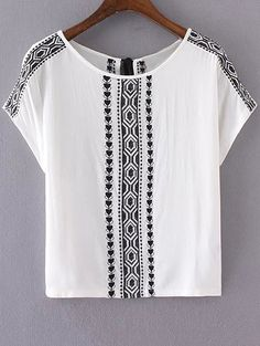 Ethnic Embroidery Short Sleeves T-Shirt - WHITE S