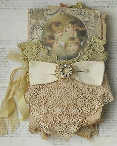 MIXED-MEDIA-FABRIC-COLLAGE-WALL-HANGING-OF-LITTLE-CHERUBS