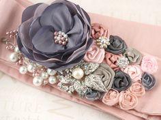 Bridal Sash in Pink and Grey with Satin Taffeta Brooch by SolBijou, $185.00