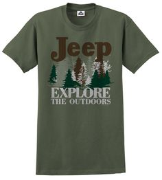 All Things Jeep - Big Jeep Explore the Outdoors Men's Tee, Olive