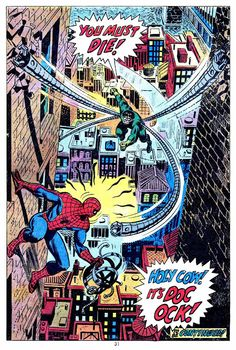 """Holy Cow! It's Doc Ock!"" Art by John Romita. #SpiderMan #JohnRomita #DrOctopus"