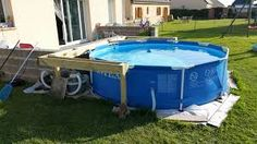 habillage piscine hors sol intex - Google Search Rectangle Above Ground Pool, In Ground Pools, Pool Landscaping, Pool Designs, Backyard, How To Plan, Landscape, Outdoor Decor, Arduino