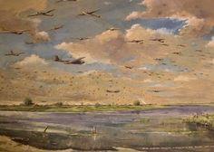 Aquarel G. de Jongh september 1944, Operatie Market-Garden gezien vanuit Grave. Operation Market Garden, Bridge Painting, Military Operations, World War Two, Soldiers, Holland, Dutch, Om, Battle