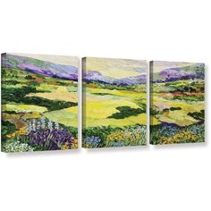 ArtWall Allan Friedlander Cool Grass 3-Piece Gallery-Wrapped Canvas Set, Size: 36 x 54, Pink