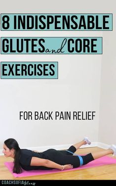 8 indispensable glutes and core exercises to help alleviate back pain, piriformis syndrome and hip pain. Exercises to alleviate low back pain, sciatica, piriformis syndrome and back pain Hip Flexor Exercises, Lower Back Exercises, Core Exercises, Hip Stretches, Stretching Exercises, Low Back Strengthening Exercises, Sciatica Exercises, Hip Pain, Low Back Pain