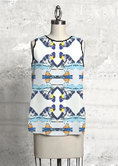 Sleeveless Top - The Skier - Sleevelesstop in Blue/Yellow by VIDA Original Artist Vida Design, Blue Yellow, Dress Up, Digital Pattern, The Originals, Summer Outfit, My Style, Unique, High Low