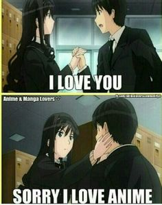 Yeah all of us love anime, but if that boy was otaku, he was already mine ♥…♥ Lonely. All of us are lonely. Anime Meme, Otaku Anime, Manga Anime, Me Anime, Anime Japan, I Love Anime, Anime Lol, Anime Stuff, Kawaii Anime