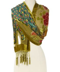 Another great find on #zulily! Brown Floral Peacock Silk-Blend Shawl #zulilyfinds