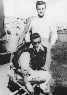 James Dean and Richard Davalos on the set of East of Eden, directed by Elia Kazan (1955).