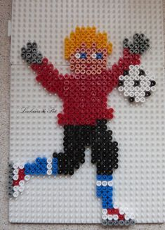 Football player hama beads by Les loisirs de Pat
