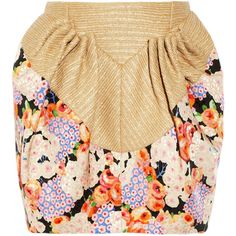 DELPOZO Floral-print twill and raffia mini skirt ($950) ❤ liked on Polyvore