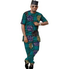 Private Custom Africa Menswear,Men African print Clothing Short sleeve tops and pant set