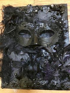 "Funeral Mask, mixed-media on canvas (11"" x 14"") by AlabasterandObsidian on Etsy"