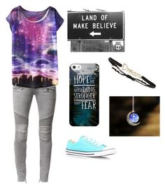 Live in your own world of fantasy , where everything's possible by stray-arrow on Polyvore featuring polyvore, fashion, style, Balmain, Converse, Tai and clothing