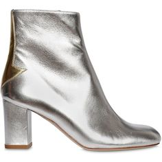 CAMILLA ELPHICK 75mm Silver Lining Leather Boots ($1,075) ❤ liked on Polyvore featuring shoes, boots, leather sole shoes, leather boots, leather heel boots, side zip boots and metallic leather shoes