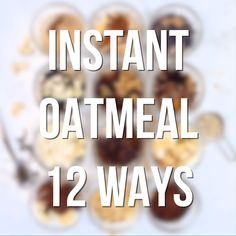 12 easy make-ahead flavor varieties for instant hot or cold overnight oatmeal. So easy & convenient for a grab-and-go breakfast or snack for home work travel camping & dorms! Overnight Oats, Healthy Drinks, Healthy Snacks, Healthy Breakfasts, Nutrition Drinks, Healthy Dishes, Eat Healthy, Healthy Recipes, Oatmeal Packets